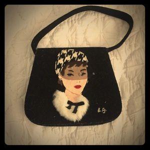 Vintage Lulu Guinness Portrait wool handbag